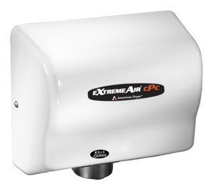 American Dryer CPC9 Extreme Air Hand Dryer, Cold Plasma Germ Killing Technology, Sanitizes Hands and Air, GreenSpec, LEED, 100-240 Smart Voltage, Adjustable Quiet Levels, Antimicrobial, White ABS Cover, Warm Air
