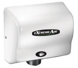 American Dryer GXT9 Extreme Air Hand Dryer, ExtremeAir, GreenSpec, LEED, 100-240 Smart Voltage, Adjustable Quiet Levels, Antimicrobial, ABS White Cover, Commercial Hand Dryer